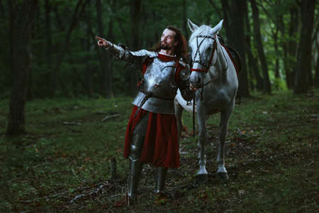 Knight with white horse wolking in the forest