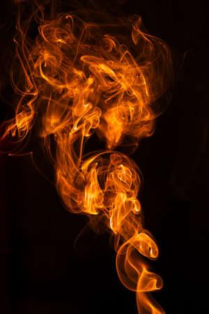 Macro of detail flames on black background