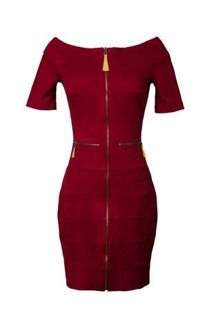 habiliment: Red velvet dress isolated on white background.
