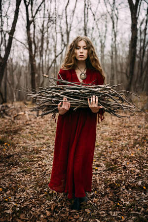 fairytale: Beautiful witch who lives in the woods Stock Photo
