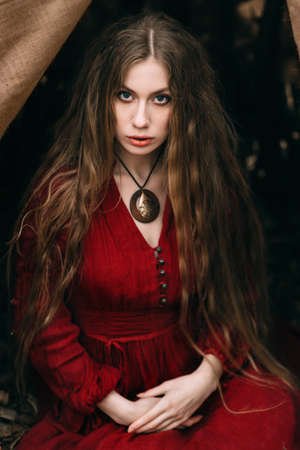 Beautiful witch who lives in the woods Banque d'images