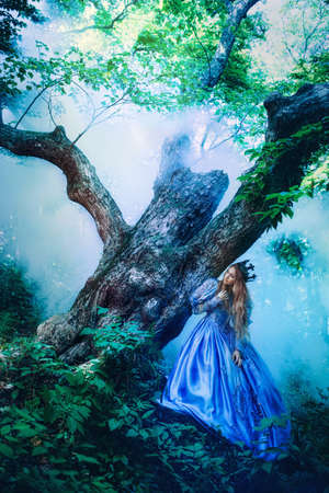 historical: Princess in vintage dress walking in magic forest