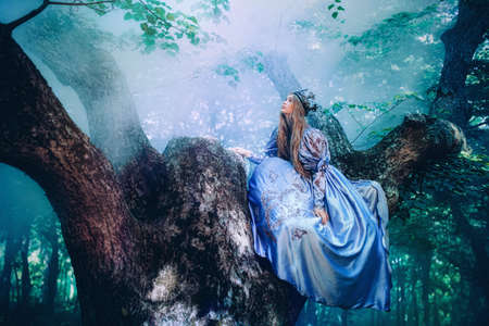 魔法の森を歩くヴィンテージのドレスの王女 写真素材