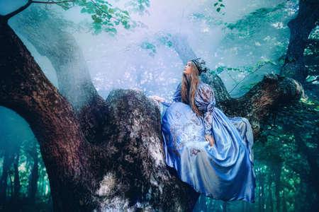Princesa en vestido de época caminando en el bosque mágico Foto de archivo - 63630319