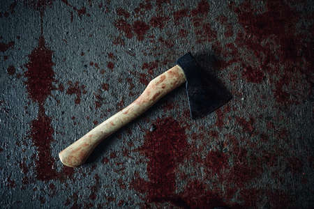 ghoulish: Bloody ax of maniac lying on the floor Stock Photo