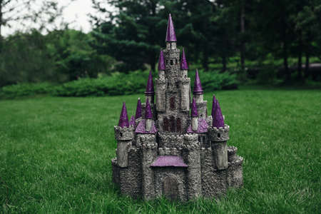 papiermache: Beautiful medieval handmade castle. Made of papier-mache