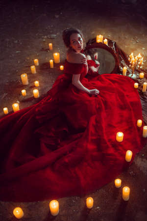 Beautiful lady with candles Stok Fotoğraf - 71895151