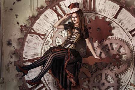Portret van een mooie Steampunk vrouw