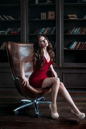 Elegant young brunette woman