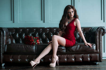 Elegant young brunette woman