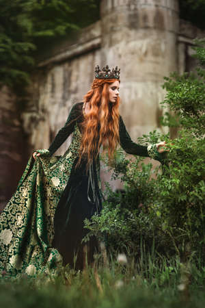Ginger queen near the castle