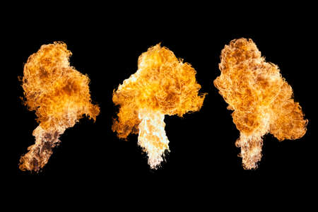 Fire explosion, isolated on black background Stock Photo