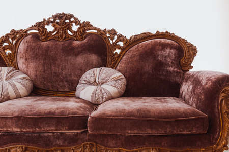 Brown sofa in white interior Stock Photo