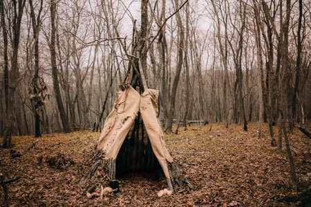 Witch tent in a autumn forest