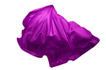 Abstract purple flying fabric isolated on white background 版權商用圖片