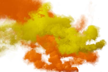 Red and orange smoke isolated on white background
