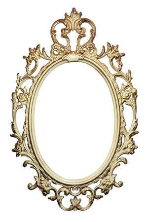 Marco dorado vintage para pintar o espejo. Foto de archivo