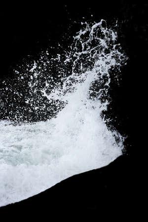 Water Splash Isolated On The Black background. Sea splashes 版權商用圖片
