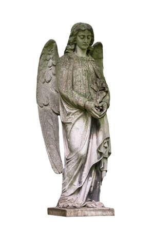 Statue of a young angel isolated on white