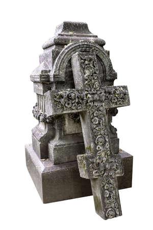 Old christian gravestone isolated on white background