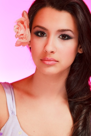 Beautiful Multicultural Young Woman in a Studio Glamour Pose Stock Photo - 8389453