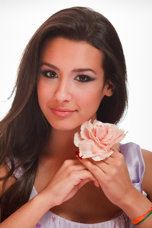 eastern european ethnicity: Beautiful Multicultural Young Woman in a Studio Glamour Pose