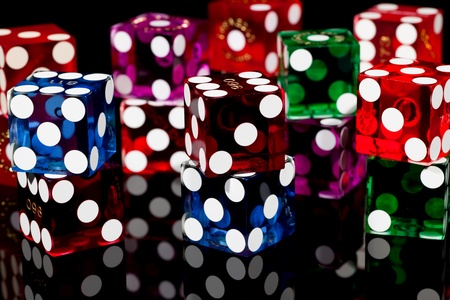 Colorful Las Vegas Gaming Dice on a Black Background photo
