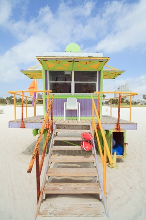 shack: Colorful South Beach Lifeguard Station in Miami Stock Photo