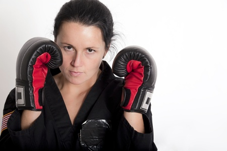 Attractive Young Woman in a Boxing Stance photo