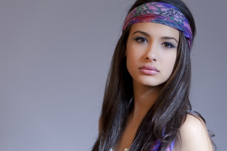 Beautiful Young Multicultural Young Woman with a 1960s hippee look Reklamní fotografie