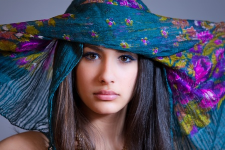 Beautiful Young Multicultural Young Woman coverd by a Veil 免版税图像