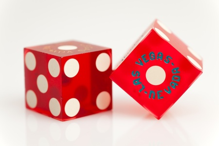Colorful Las Vegas Gambling Dice on a White Background  photo