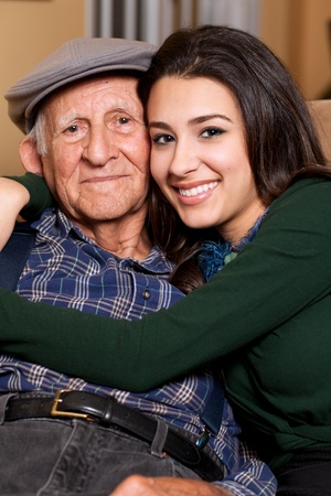 smooch: Grandfather and Granddaughter Family Lifestyle Stock Photo