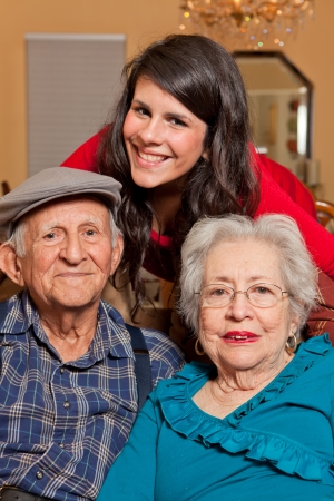 Granddaughter and Grandparents home lifestyle Stock Photo - 8754067