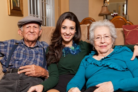 Granddaughter and Grandparents home lifestyle photo