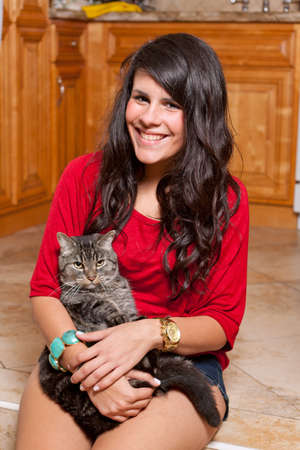 Pretty Young Woman with Cat photo
