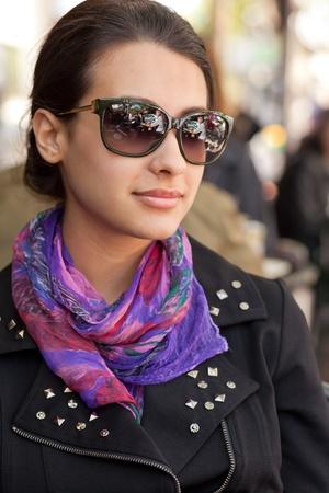 eyewear: Pretty Young Woman Outdoor Lifestyle Stock Photo