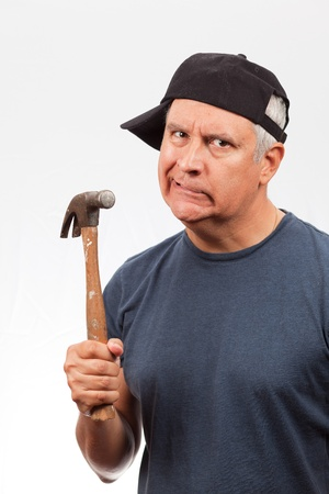 Middle Age Man with Hammer