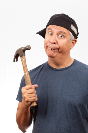 Middle Age Man with Hammer photo