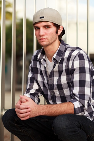 Handsome Young Man in Downtown Urban Scene photo