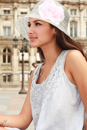french ethnicity: Pretty Young Woman in a Paris Plaza