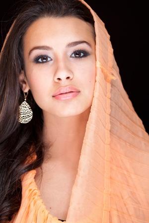 shawl: Beautiful Young Woman wearing a Veil