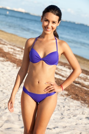 Pretty Girl Enjoying the Beach in Miami photo