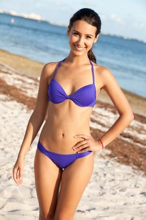 women in bikini: Pretty Girl Enjoying the Beach in Miami