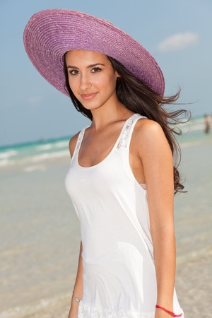 Beautiful Young Woman on South Beach in Miami