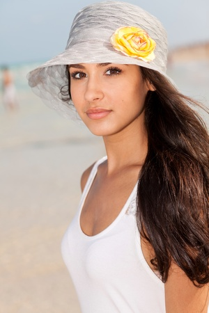 Beautiful Young Woman on South Beach in Miami photo