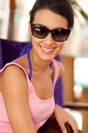 cuban women: Pretty young woman enjoying Lincoln Road in Miami Beach Stock Photo