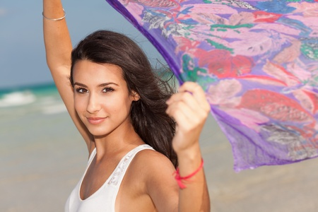 Beautiful young woman in South Beach in Miami photo