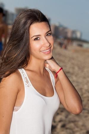 Beautiful young woman in South Beach in Miami Stok Fotoğraf