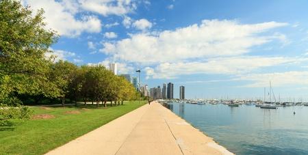lakefront: Lake Shore Trail along Lake Michigan in Chicago Stock Photo